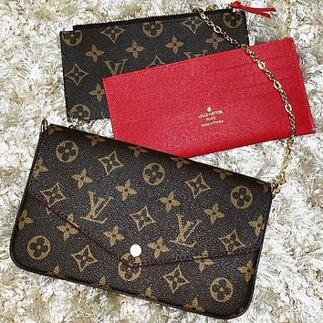 LV Women Shopping Bag Leather Handbag Tote Shoulder Bag Satchel Three-Piece Coffee LV Print