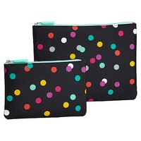 Gear-Up Black Confetti Dot Flat Pouches, Set of 2