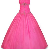 Beaded Mesh Fairy Prom Dress Formal Ball Gown, XL, Fuchsia