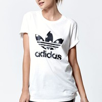adidas Big Dots Logo Short Sleeve T-Shirt - Womens Tee - White