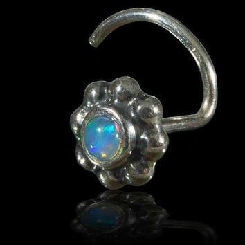 Flower nose stud with set Opal, Nose piercing, Silver piercing, Indian nose stud, Flower nose stud, Opal nose stud, Tribal nose stud, Tribu