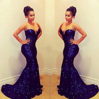 2017 Sexy Royal Blue Off Shoulder Sweetheart Prom dresses Sequined Evening Dress Mermaid Formal Party Gowns PD151