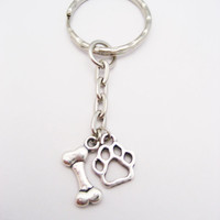 Dog Bone Keychain Dog Paw Keychain Dog Lovers Keychain Pet Lovers Gift Dog Bone and Paw Keychain Puppy Lovers Gift  Dog Person Gift