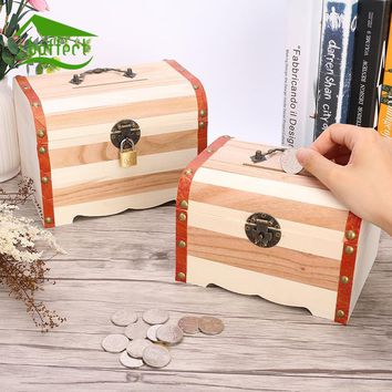 Hot Home Storage Box Natural Wooden With Lid Golden Lock Postcard Organizer Piggy Bank Handmade Craft Jewelry Case Wedding Gift