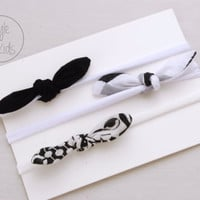 Black and White Top KNOT Headband Bow Headband You Pick Toddler Headband Set Headband Baby Bow Headband Knot Headband