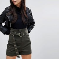ASOS High Waisted Peg Shorts in Khaki with Extra Long Belt at asos.com
