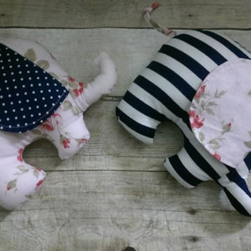 Shabby cottage chic elephant plushie - set of 2 elephant stuffed animal - twin girls / sisters nursery bedroom decor - navy pink florals