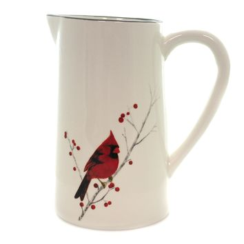 Tabletop CARDINAL WINTER PITCHER Ceramic Berries Holiday Male 198486