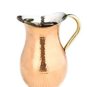 2.25 Qt Décor Copper Hammered Water Pitcher w/Brass Ice Guard/Handle