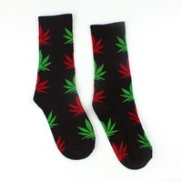 Men Casual Long Socks/Black Weed