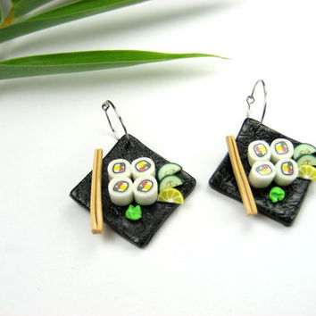 California Maki Sushi Earrings - food jewelry