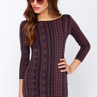 O'Neill Nika Long Sleeve Purple Print Dress