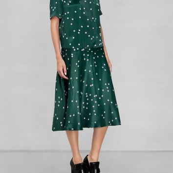 & Other Stories | Pearl Print Collar Dress | Dark Green