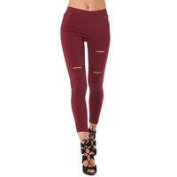 BURGUNDY HIGH WAIST LEGGINGS WITH RIP