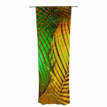 "PIA SCHNEIDER ""TROPICAL LEAVES AUTUMN MAPLE"" Green Yellow Nature Pop Art Photography Mixed Media Decorative Sheer Curtain"