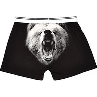 River Island MensBlack grizzly bear print boxers