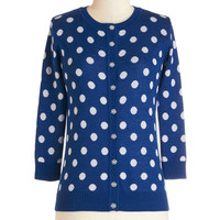 ModCloth Vintage Inspired Mid-length Long Sleeve Jukebox Jubilee Cardigan in Blue