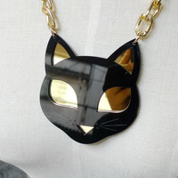 Shinning Eyes Black Cat Pendant Necklace