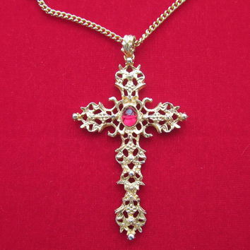 Avon filigree cross pendant necklace vintage Abbey Collection
