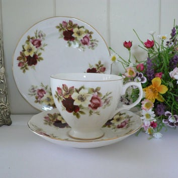 Gainsborough  vintage  rose patterned bone china tea trio