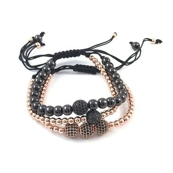 Macramé stack Rose-gold & Black bead bracelets with pave zircon encrusted balls