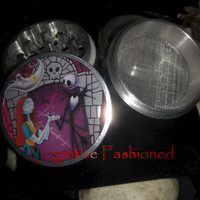 Jack Skellington and Sally Nightmare Before Christmas 4 Piece Grinder Herb Spice Aircraft Grade Aluminum C.N.C