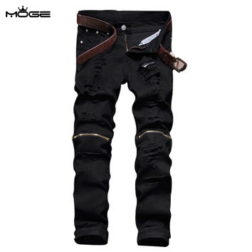Men cotton zipper black jean fashion slim motorcycle pants mens distressed jeans pantalon homme jeans de marque