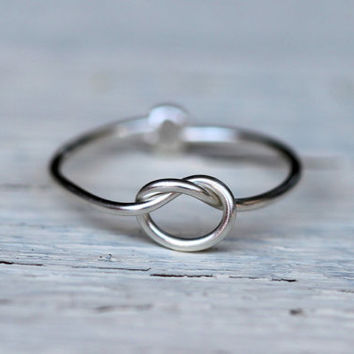 Infinity Ring : Tiny Delicate Silver Plated Wire Infinity Knot Ring, First Knuckle Ring, Hand Bent, Friendship, Promise, Wish, Reminder