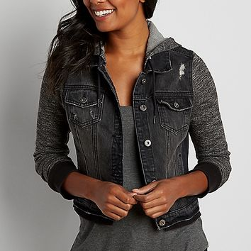 french terry denim jacket with hood in black | maurices
