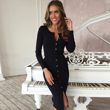 Sexy Button Scoop Long Sleeve Knee-length Dress