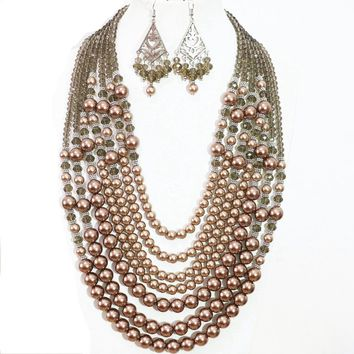 Champagne Multilayer Round Shell Pearl Bead Charm Bib Necklace & Chandelier Earrings Jewelry Set