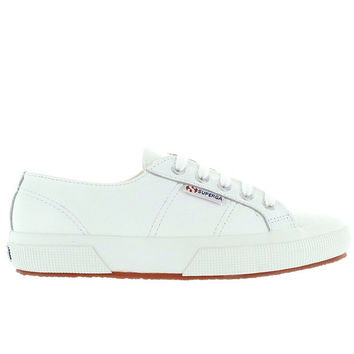 Superga 2750 - White Leather Lace-Up Sneaker