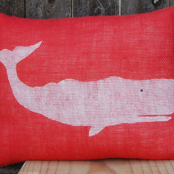Summer Pillow, Beach House Pillow, Whale Pillow, Coral Burlap Pillow, Nautical Pillow,Decorative Pillows,Accent Pillows,Throw Pillow,Cushion