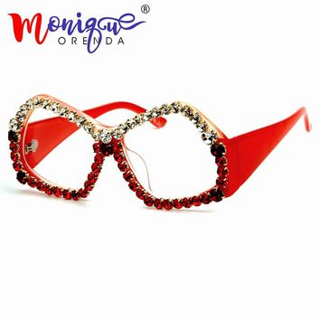 Brand Designer women sunglasses cat eye sunglasses luxury rhinestones glasses Polygon men sunglasses vintage Shade for women
