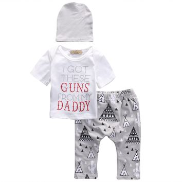 3 Pcs Clothing Set Newborn Babies Toddler Baby Boys Girls T-shirt Tops+Long Pants+Hat Clothes Set