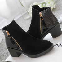 women boots 2015 fashion autumn ankle boots pu leather shoes woman suede Splice black blue high heels boots shoes women AA223