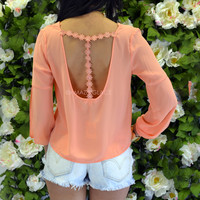 Shasta Daisy Coral T-Strap Blouse