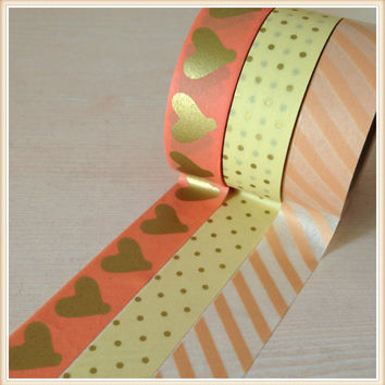 High quality golden washi tape 15mm*10m golden heart and golden dot japan masking washi paper tape
