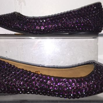 Bedazzled Ballet Flats In Black With Amethyst Purple Crystals