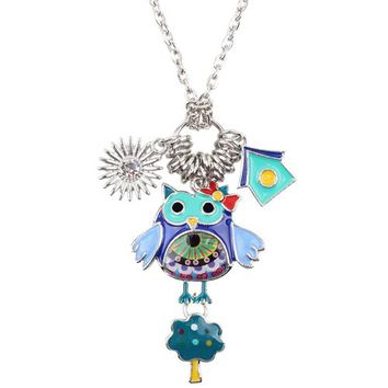 Statement Chain Enamel Owl Tree House Cartoon Necklace Pendant Fairy Tale Fashion Jewelry For Women Girl Kids Gift Charms
