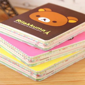 1 PCS Kawaii Relaxed Bear Palm Notepad Portable Colorful Notebook Student Stationery