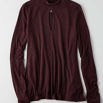 AEO Soft & Sexy Mock Neck T-Shirt , Burgundy