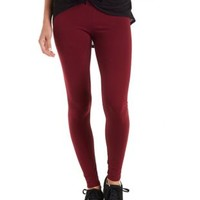 Burgundy Solid Stretch Cotton Leggings by Charlotte Russe
