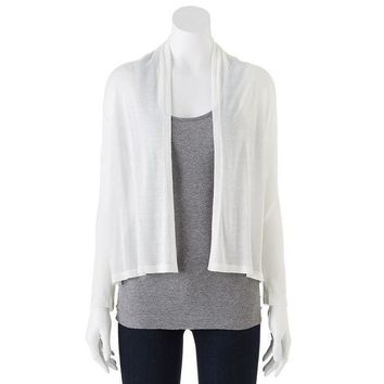 Dana Buchman Pieced Ribbed Open Front Cardigan   Women's Size: