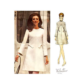 A Line Dress Pattern Vogue Couturier 2347 Vintage Valentino Sewing Pattern Size 14 Bust 36 Uncut FF Label