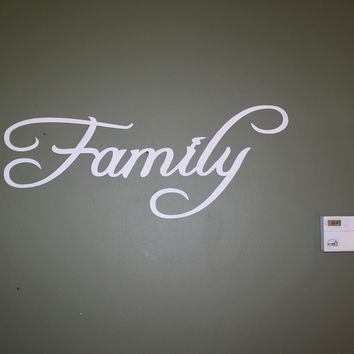 Family Word Sign White Paint Large Home Decor Metal Wall Art