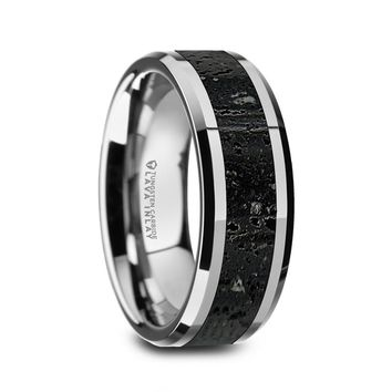 Black Lava Stone Inlay Tungsten Carbide Wedding Band
