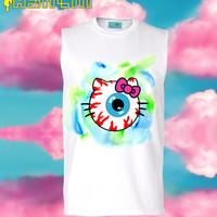 HALLOWEEN Creepy Kitty Eyeball Muscle Tee // 90s Grunge // fASHLIN