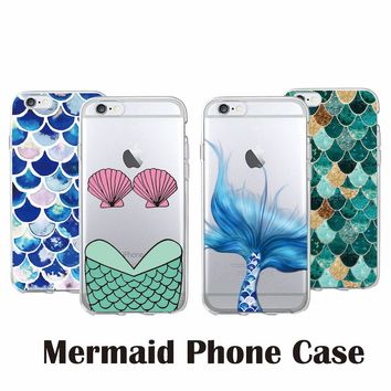 Fashion Sexy Bikini Shell Mermaid Tail Scale Soft Clear Phone Case Fudas Coque For iPhone 7 7Plus 6 6S 6Plus 5S 8 8Plus SAMSUNG