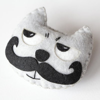 Felt Brooch, Moustached Cat, Felt Jewelry, Felt Pin Cat, Gray Cat, Black mustache